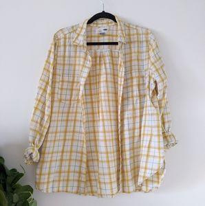 Old Navy Yellow & Cream Plaid Shirt